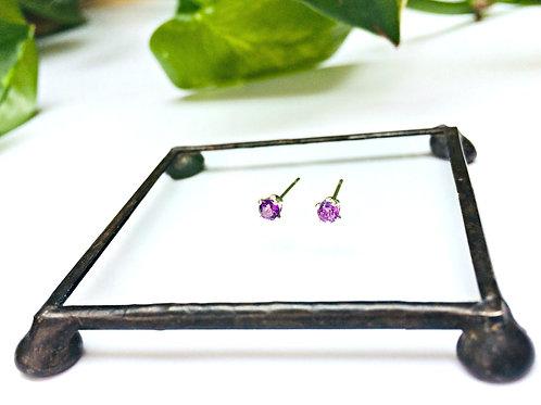 Amethyst - teeny gemstone & Silver studs