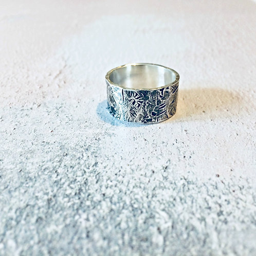 'Beaten Track' - statement Silver textured ring
