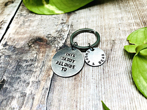 This Daddy Belongs To - personalised Sterling Silver keyring