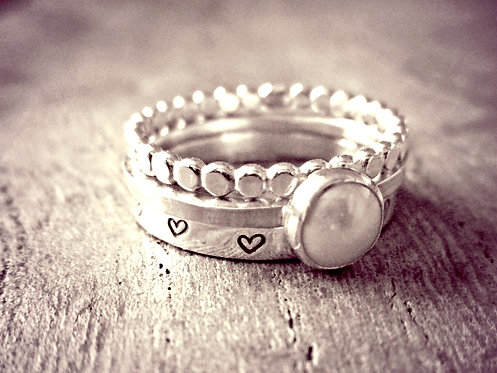 Pearl & Silver - ring stack