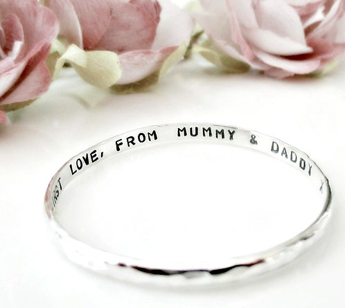 Baby Bangle - Sterling Silver personalised gift