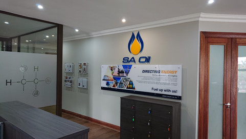 Glass decals & SA Oil logo