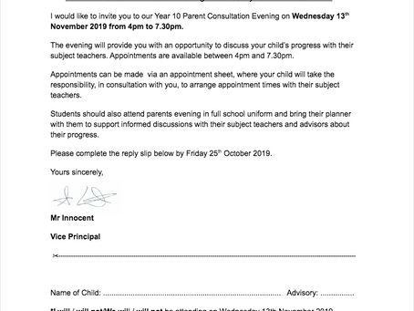 Year 10 Parent's Consultation Evening