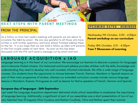 4th October 2019 - IAG Weekly Newsletter