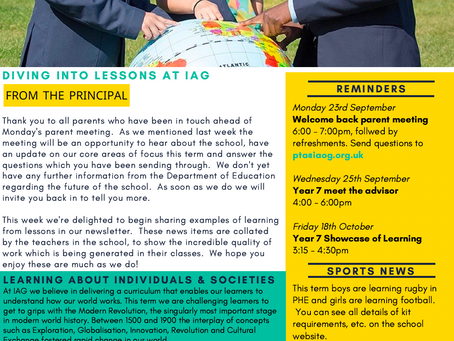 20th September 2019 - IAG Weekly Newsletter