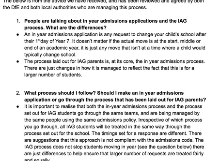 In-Year Admissions FAQs for Current IAG Students in Years 7, 8 and 9