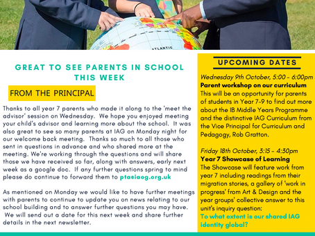 27th September 2019 - IAG Weekly Newsletter