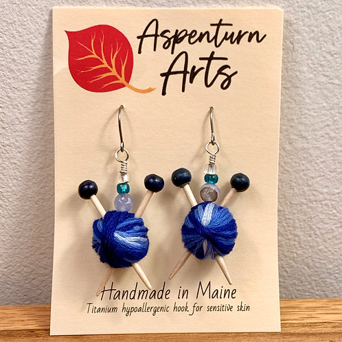 Blue Knitter Earrings