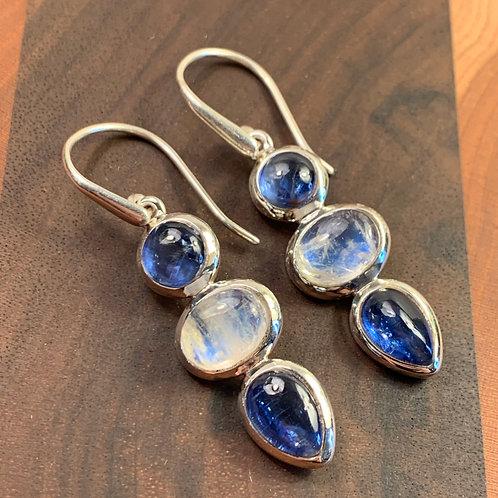 Kyanite and Moonstone Earrings