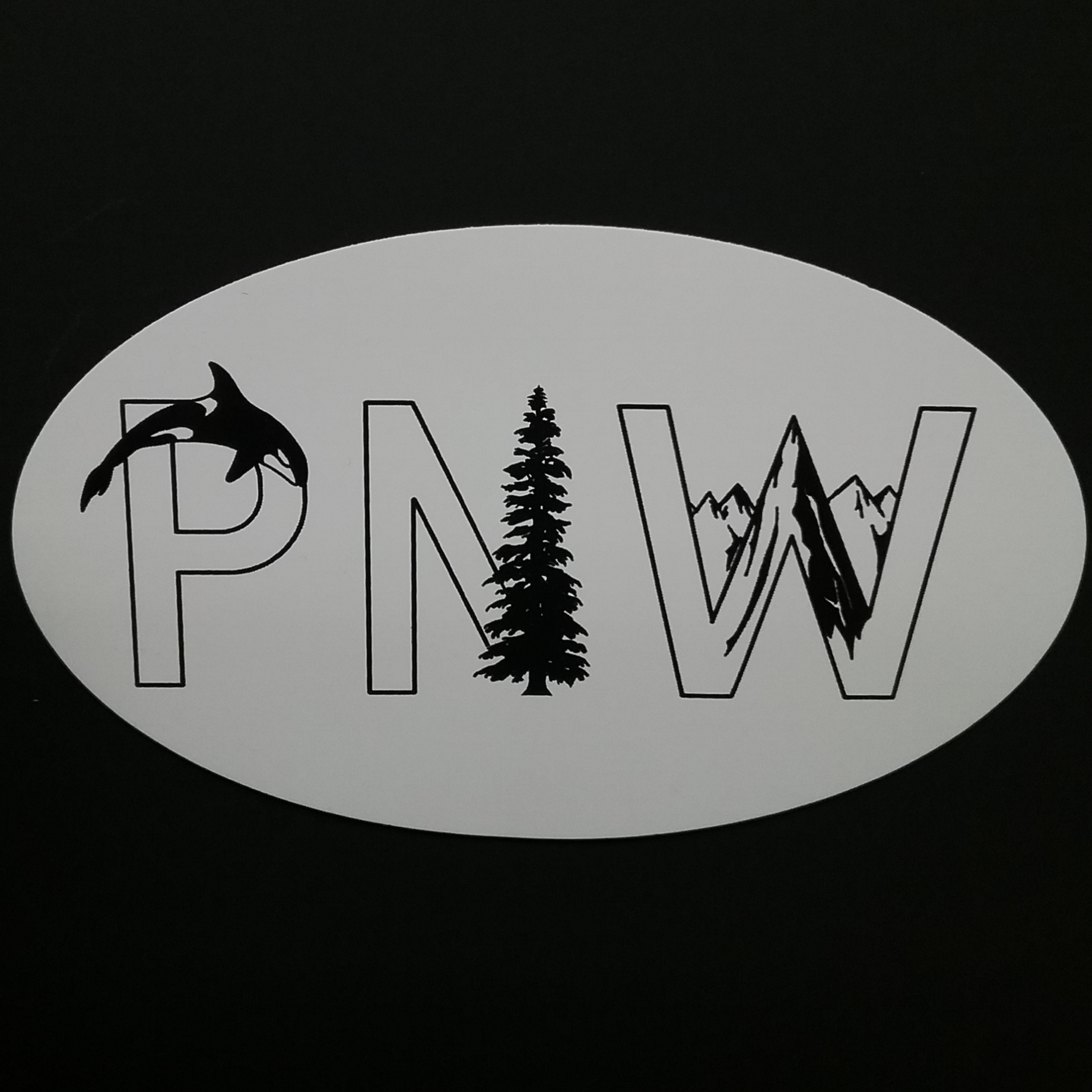 PNW Oval Orca Tree Sticker
