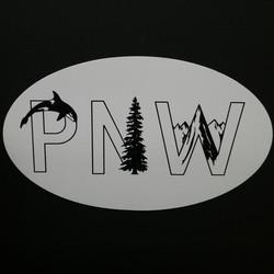 PNW Oval Orca Tree Sticker