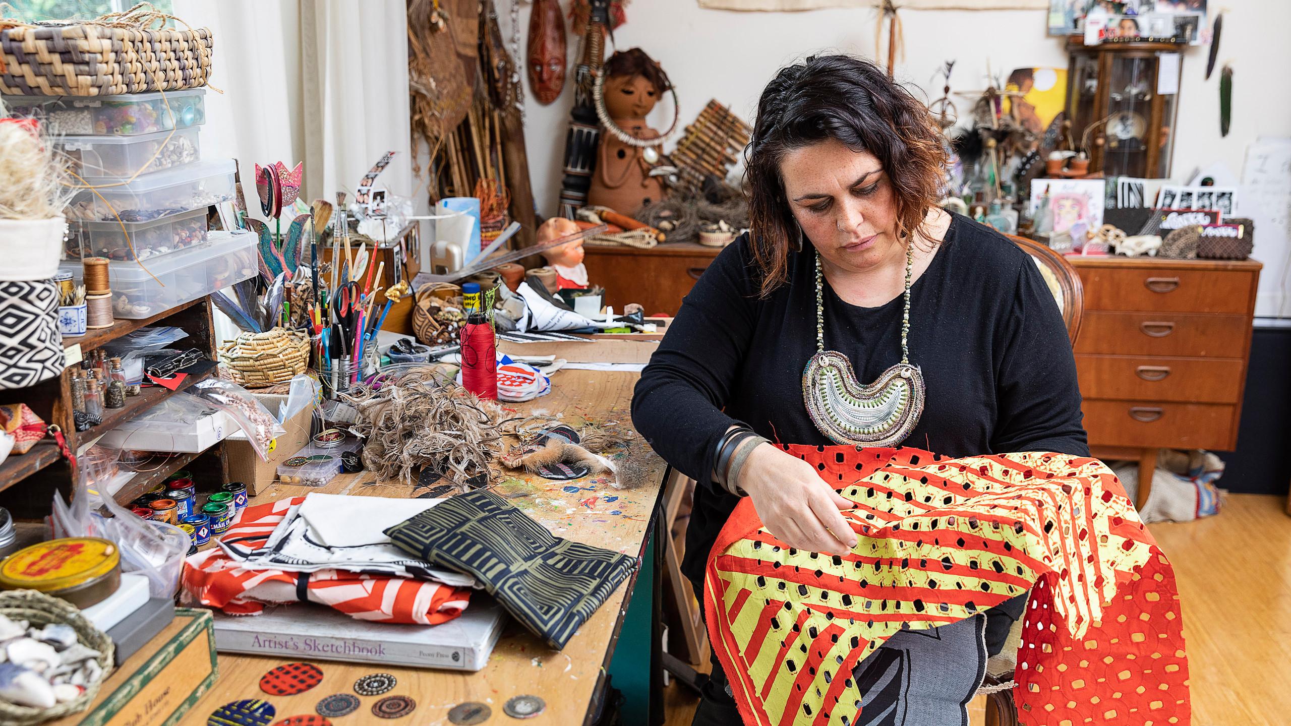 Lisa Waup in her studio
