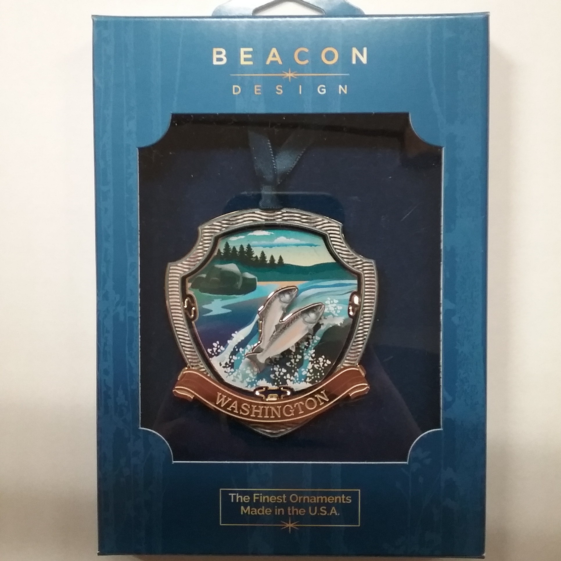 Salmon Run Brass Ornament