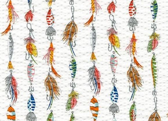 Fishing Lures WHITE from Plisse Collection by Robert Kaufman