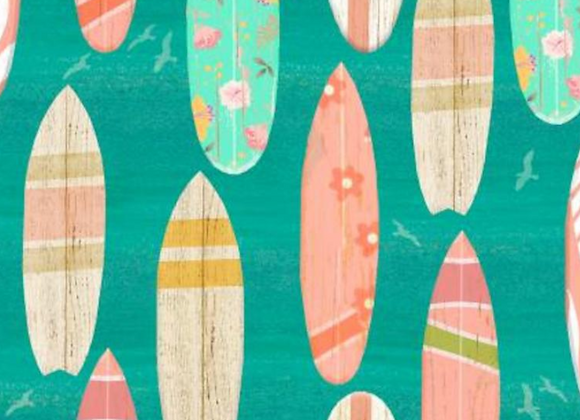 Beach Travel -Surf Boards- by 3 Wishes Fabric
