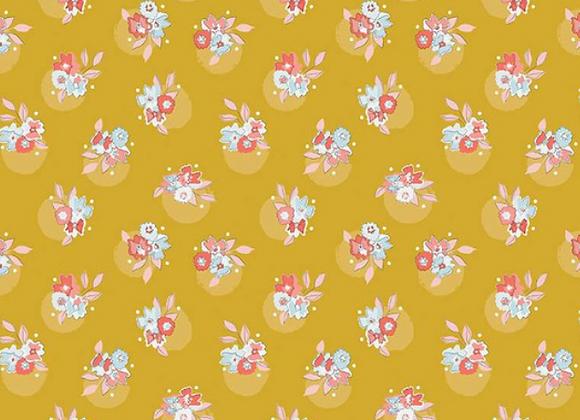 Petals & Pots Floral Mustard C8972 by Riley Blake
