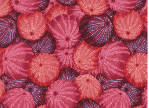 PWPJ100-RED Bright Sea Urchins Red by Kaffe Fassett