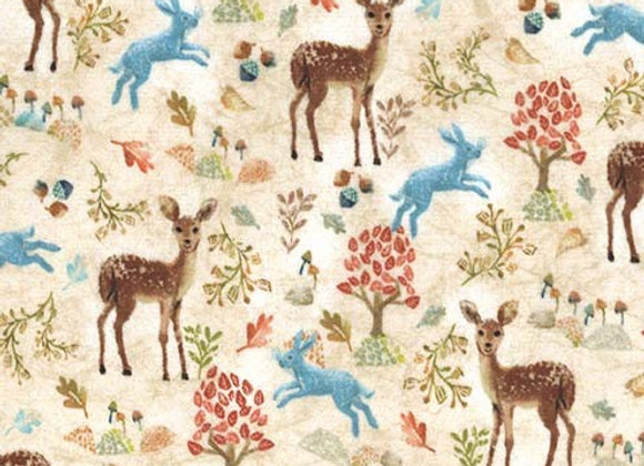 SMP8981-Taupe-D Oh Deer, Mr. Rabbit Minky by Michael Miller Fabrics