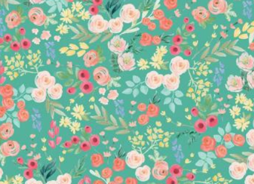 Flower market TEAL C8921-TEAL by Riley Blake