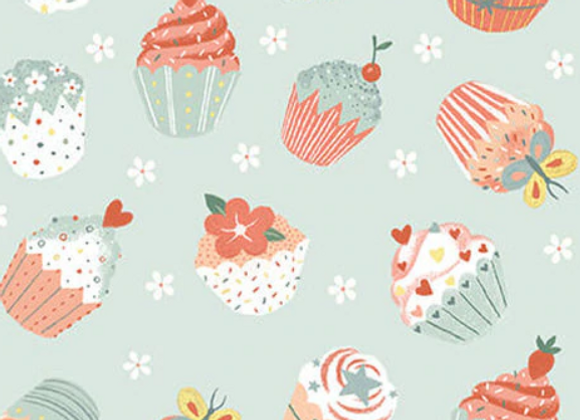 Woodland Tea Time Woodland Tossed Cupcakes-Aqua by Studio E