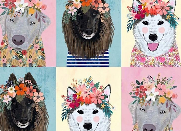 More Floral Pets Big Puppy Panel - Mia Charo by Blend