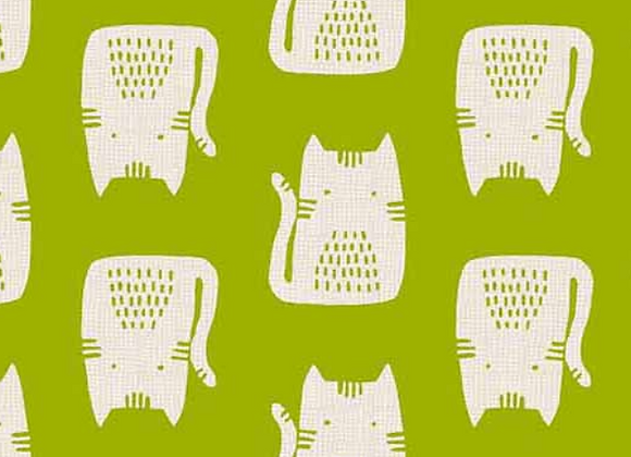 Andover -Cats and Dogs- Green Cats A-8966-G