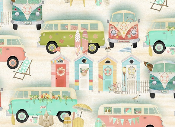 Beach Travel -Vintage Bus- by 3 Wishes Fabric