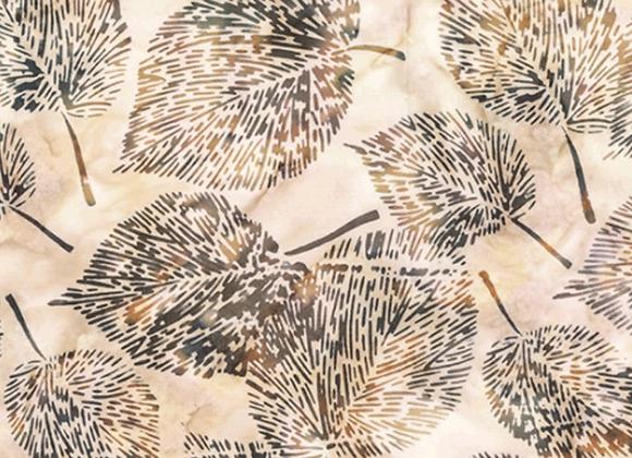 Hoffman Fine Leaf Batik fabric R2218 501 Sand Dollar