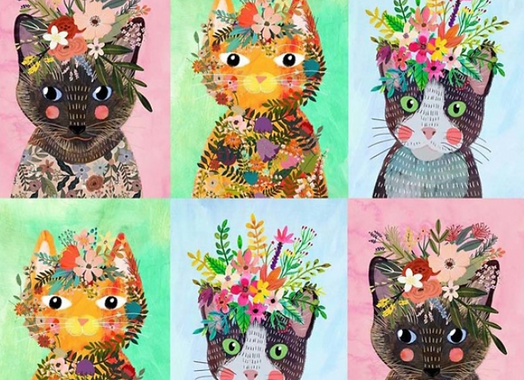 More Floral Kitties Panel - Floral Pets-  Mia Charro by Blend