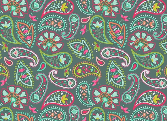 Maude Asbury Desert Blooms, Teal Paisleys by BLEND