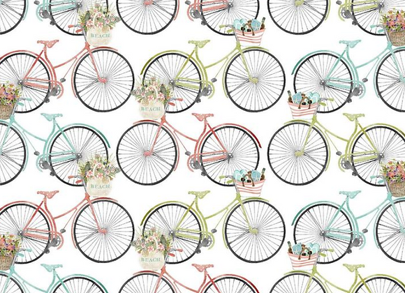 Beach Travel -Bicycles- by 3 Wishes Fabric