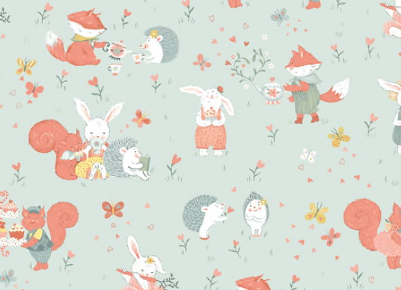 Woodland Tea Time Woodland Critters Allover-Aqua by Studio E