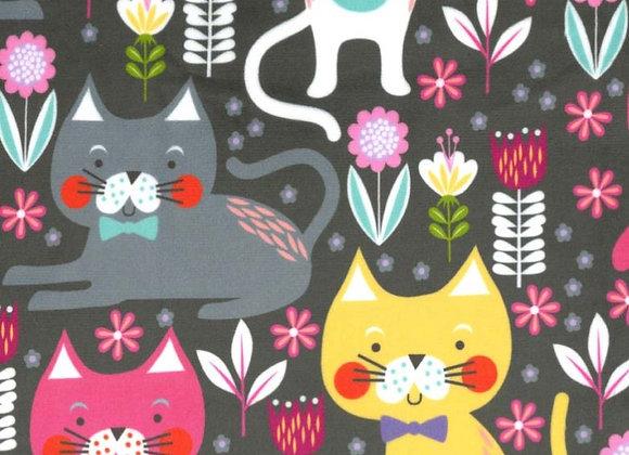 Kitty Garden Minky SMP8065-gray-d by Michael Miller Fabrics