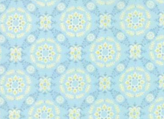 Moda  Fleurs Circle Lattice Bluebell by Brenda Riddle