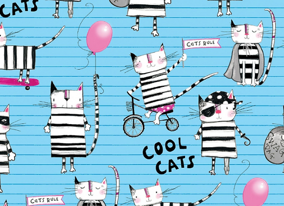 3 Wishes Cool Cat Club 16018 Blue Cool