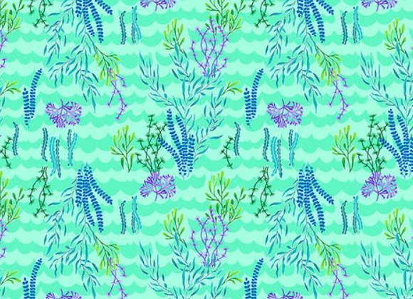 Mermaids Rock Seaweed on Green by Studio E