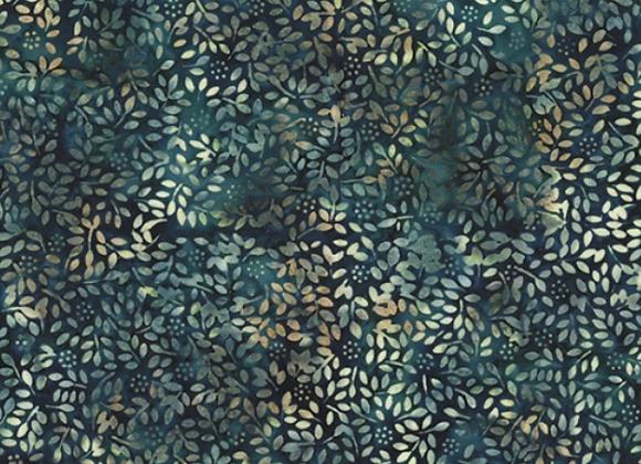 Hoffman Ditzy Leaves Batik fabric R2233-577 Bayou