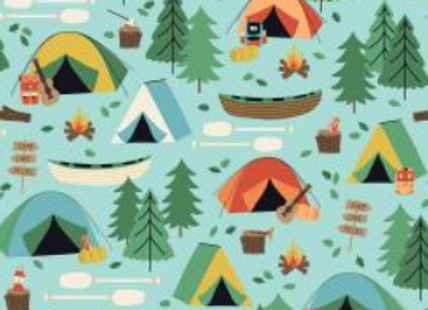 Camping Crew -Campground - Sky Fabric by RJR