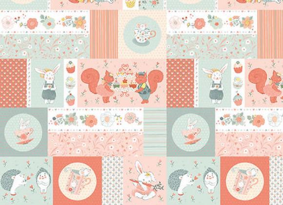 Woodland Tea Time Woodland Aqua/Pink by Studio E
