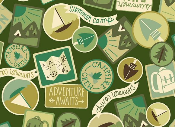 Camping Crew - Patches - Moss Fabric by RJR