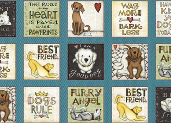 Henry Glass All You Need is Love and a Dog -2/3 Yard Fabric Panel