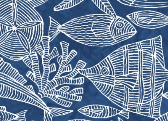 Maywood Studio Turtle Bay Underwater Etchings Navy Blue