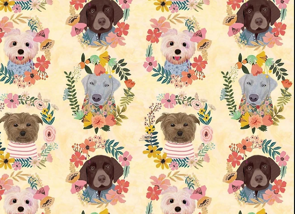More Floral Pets -Puppy Wreaths Ivory- Mia Charo by Blend