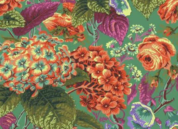 PWPJ097-GREEN Rose and Hydrangea Green by Kaffe Fassett