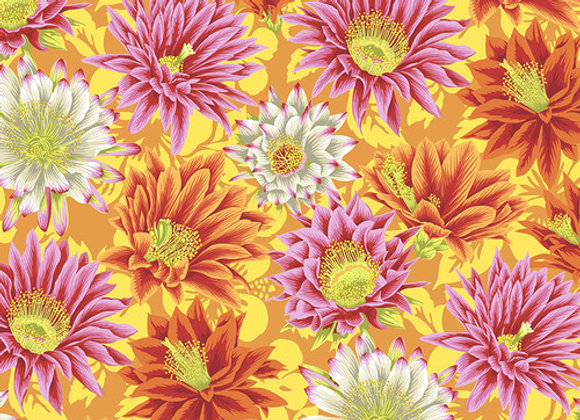 PWGP096-Yellow Cactus Flower Flower Kaffe Fassett For Free Spirit