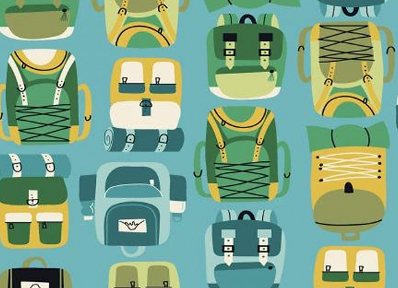 Camping Crew - Backpacks - Sky Fabric by RJR