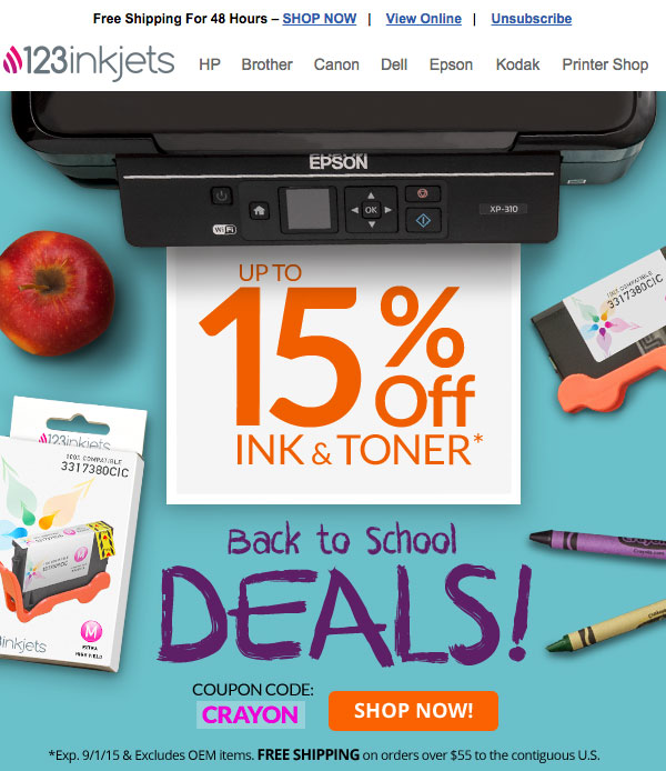 Email Design for 123inkjets.com
