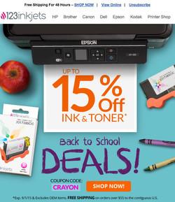 Email Design for 123inkjets.com