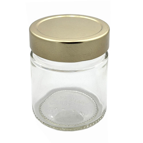 212ml Ergo Glass Jar 70MM W/Gold Metal Cap   SKU:BSJ-029G