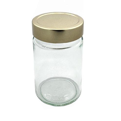 359ml Ergo Glass Jar 70MM W/Gold Metal Cap   SKU:BSJ-030G